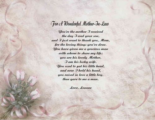 IN LAW PERSONALIZED POEM GIFT PRINT 11 DESIGNS TO CHOOSE FROM