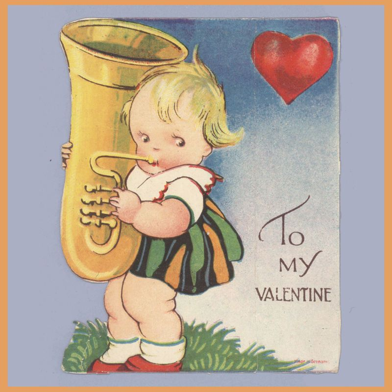 Vintage Valentines Day Card GIRL WITH HORN Euphonium
