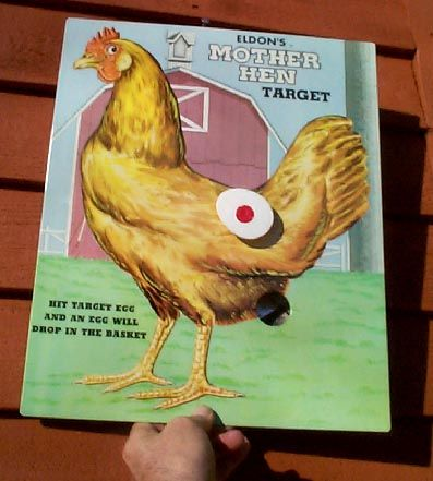 Hen Egg Laying Target Game Metal Farm Advert Sign w/ Chicken Graphics