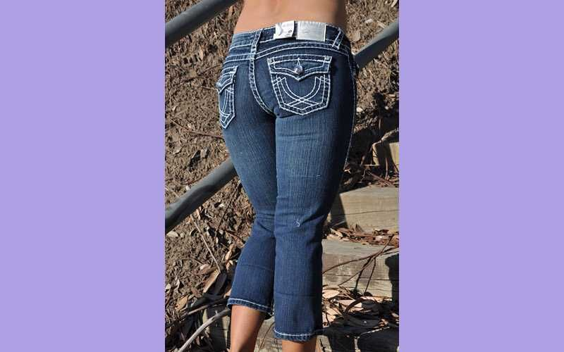 CAPRIS from LA IDOL JEANS SZ 0 15 dark blue white stich FAST FREE