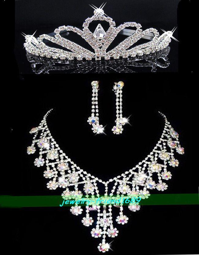 Wedding/Bridal crystal necklace earrings tiaras set C7