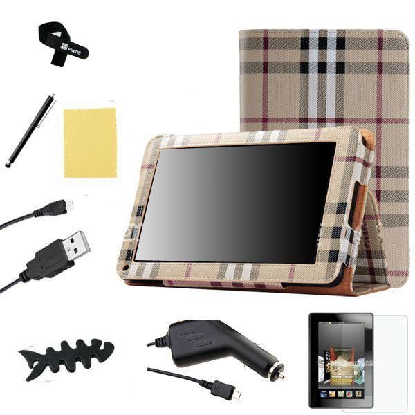 Kindle Fire Rotating PU Leather Case Cover/Car Charger/USB