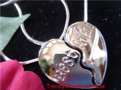 Necklaces BFF Best friends heart Engraved Pendant