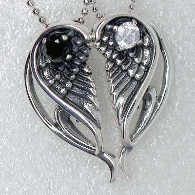 Split Angel Wings Heart Best Friends 925 Sterling Silver Pendant/Charm