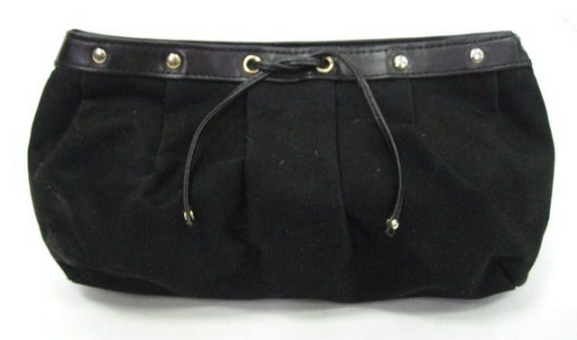 YVES SAINT LAURENT Black Canvas Studded Clutch Handbag